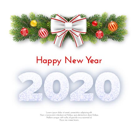 Holiday gift card. Happy New Year 2020. Snow numbers, fir tree branches garland, Christmas balls and white tied bow isolated on background. Vector 일러스트