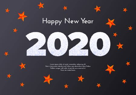 Holiday gift card. Happy New Year 2020. Snow numbers and red stars on dark background. Celebration decor. Vector