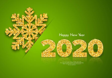 Holiday gift card Happy New Year. Golden numbers 2020 and snowflake on green background. Celebration decor. Vector