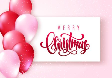 Merry Christmas lettering. Elegant greeting card with realistic glossy flying balloons and sparkling confetti on lighten pink pastel background. Vector illustration for your design