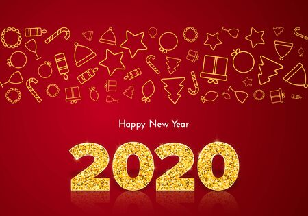 Holiday gift card Happy New Year. Golden numbers 2020 and icons border on red background. Celebration decor. Vector 일러스트