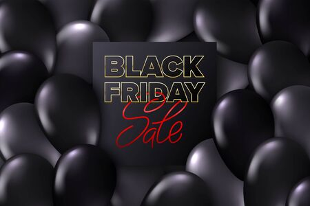 Black Friday sale for promotion design. Dark card with typography on realistic glossy flying monochrome balloons. Advertising sign. Market special offer discount. Vector. 일러스트