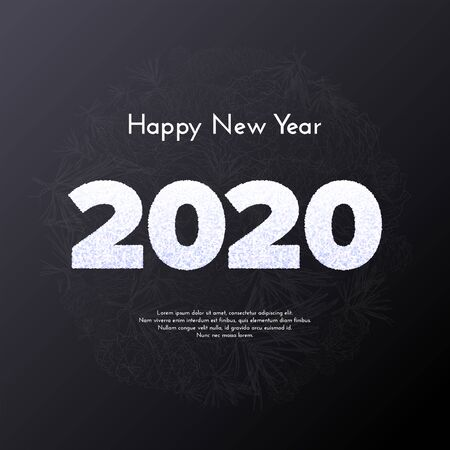 Holiday gift card. Happy New Year 2020. Snow numbers in circle fir tree branches background. Vector