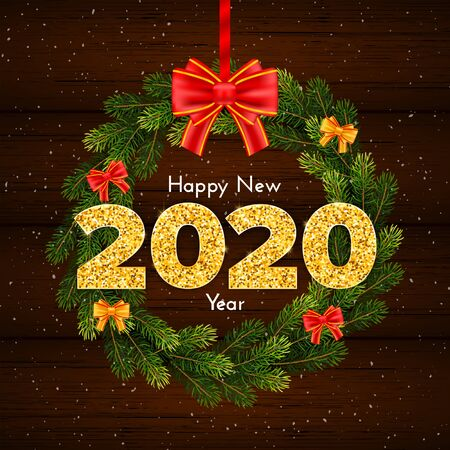 Holiday gift card Happy New Year. Golden numbers 2020, fir tree branches wreath and bow on wood background. Celebration decor. Vector 일러스트