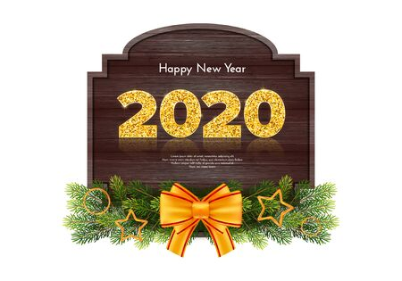 Holiday gift card Happy New Year. Golden numbers 2020, fir tree branches garland and tied bow on wood background. Celebration decor. Vector