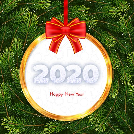 Holiday gift card. Happy New Year 2020. Snow numbers, golden frame and red tied bow on snowy wreath background. Celebration decor. Vector 일러스트