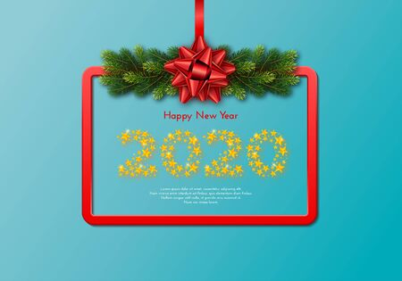 Holiday gift card. Happy New Year 2020. Numbers of golden stars, fir tree branches garland and red frame with tied bow. Template for a banner, poster, invitation. Vector illustration 일러스트