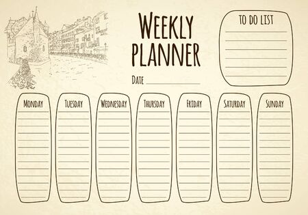 Weekly planner. City sketching. Line art silhouette. Travel card. Tourism concept. France, Annecy. Vector illustration. 일러스트