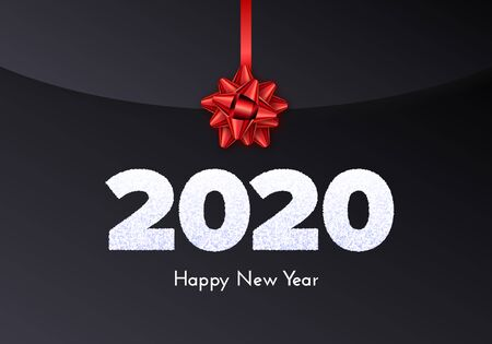 Holiday gift card. Happy New Year 2020. Snow numbers and red tied bow on dark envelope background. Celebration decor. Vector 일러스트
