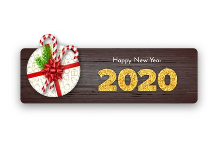Holiday gift card Happy New Year. Golden numbers 2020 on wood background. Fir tree branches, tied red bow and candy canes top on gift box. Celebration decor. Vector