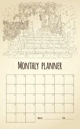 Monthly planner. City sketching. Line art silhouette. France, Saint-Paul-de-Vence. Tourism concept. Vector illustration.
