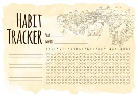 Habit tracker. City sketching. Line art silhouette. Travel card. Tourism concept. Luxembourg. Vector illustration.