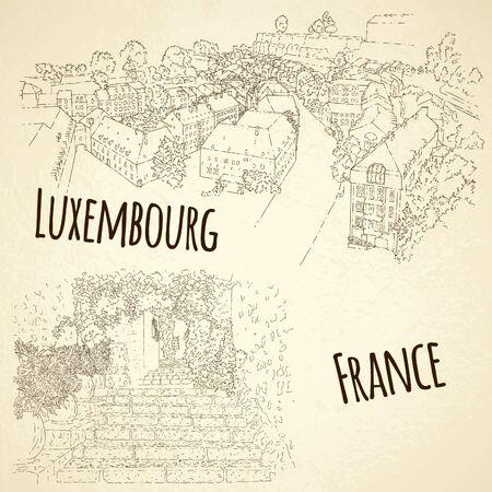 Set of city sketching. Line art silhouette. Travel card. Tourism concept. France, Saint-Paul-de-Vence. Luxembourg. Vector illustration.