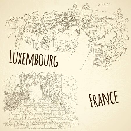 Set of city sketching. Line art silhouette. Travel card. Tourism concept. France, Saint-Paul-de-Vence. Luxembourg. Vector illustration. 스톡 콘텐츠 - 141157772