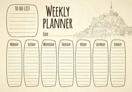 Weekly planner. City sketching. Line art silhouette. Travel card. Tourism concept. France, Mont Saint-Michel. Vector illustration.