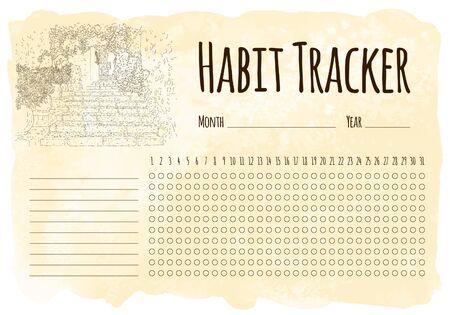 Habit tracker. City sketching. Line art silhouette. Travel card. Tourism concept. France, Saint-Paul-de-Vence. Sketch style vector illustration. 일러스트