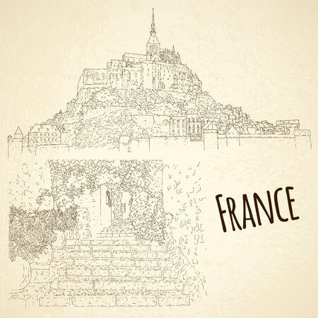 Set of city sketching. Line art silhouette. Travel card. Tourism concept. France, Saint-Paul-de-Vence, Mont Saint-Michel. Vector illustration.