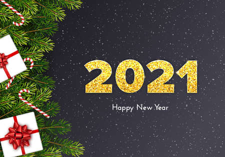 Holiday card Happy New Year with fir tree branches, gift box, red bow, candy canes and golden numbers 2021. Vector template illustration