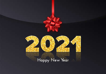 Golden numbers 2021 with reflection and shadow on balck envelope. Holiday gift letter Happy New Year with red bow. Celebration decor. Vector template illustration 일러스트
