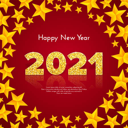 Golden numbers 2021 with reflection and shadow on red background. Holiday gift card Happy New Year with stars wreath. Celebration decor. Vector template illustration