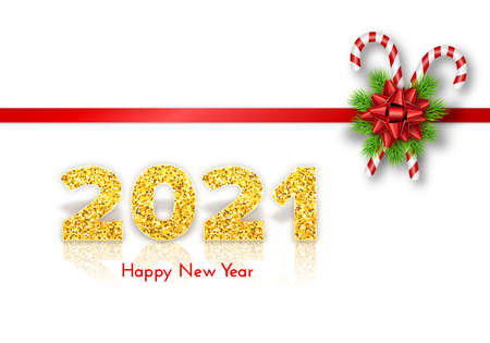 Golden numbers 2021 with reflection and shadow on white background. Holiday gift card Happy New Year with fir tree branches garland, candy canes and bow. Celebration decor. Vector template illustration.