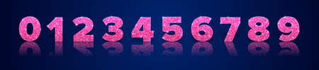 Pink glitter numbers with reflection and shadow in royal style isolated on blue background. Holiday decoration. Vector 일러스트
