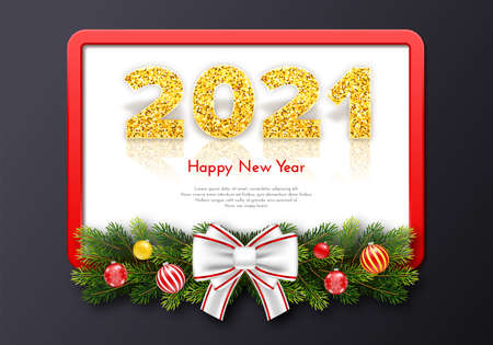 Golden numbers 2021 with reflection and shadow. Holiday gift frame Happy New Year with fir tree branches garland and bow. Celebration decor. Vector template illustration Illustration