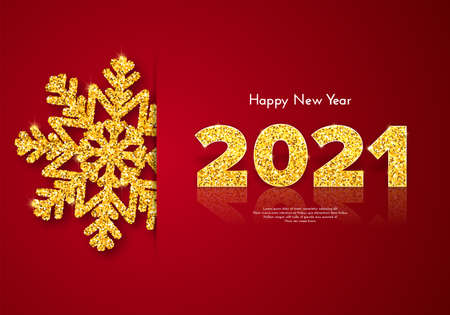 Golden numbers 2021 with reflection and shadow on red background. Holiday gift card Happy New Year with gold shiny snowflake. Celebration decor. Vector template illustration 일러스트
