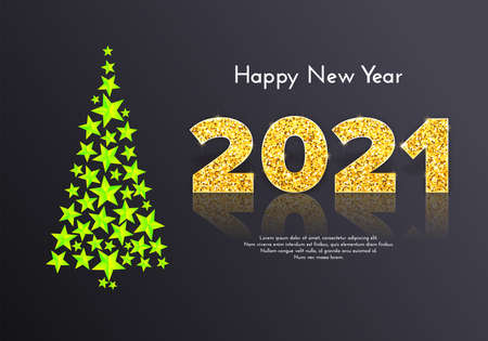 Golden sparkling numbers 2021 with reflection and shadow on dark background. Holiday gift card Happy New Year with shiny neon green Christmas tree. Celebration decor. Vector template illustration 일러스트