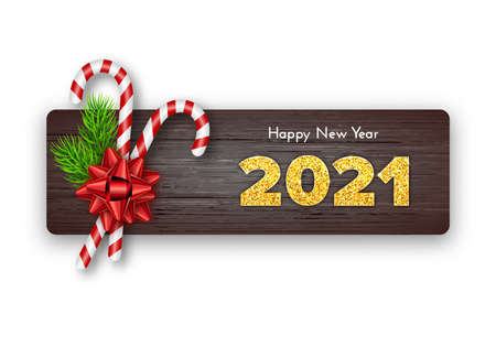 Golden numbers 2021 on wood background. Holiday gift card Happy New Year with fir tree branches, candy canes and bow. Celebration decor. Vector template illustration
