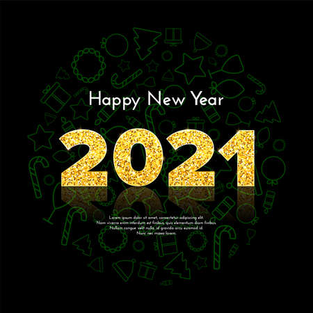 Golden numbers 2021 with reflection and shadow on black background. Holiday gift card Happy New Year with traditional Christmas icons. Celebration decor. Vector template illustration