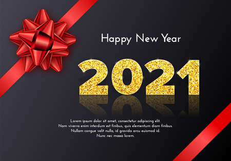 Holiday gift card Happy New Year with red bow. Golden numbers 2021 with reflection and shadow on dark background. Celebration decor. Vector template illustration