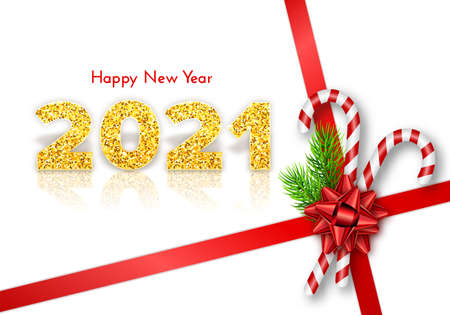 Golden numbers 2021 with reflection and shadow on white background. Holiday gift card Happy New Year with fir tree branches, candy canes and red bow. Celebration decor. Vector template illustration