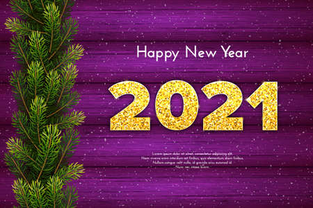 Holiday gift card Happy New Year with fir tree branches garland. Golden numbers 2021 with shadow on violet wood background. Celebration decor. Vector template illustration