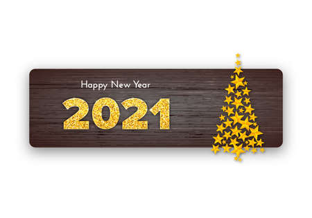 Holiday gift card Happy New Year with Christmas tree. Golden numbers 2021 on wood background. Celebration decor. Vector template illustration