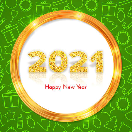 Golden numbers 2021 with reflection and shadow on white background. Holiday gift card Happy New Year with gold shiny frame. Celebration decor. Vector template illustration