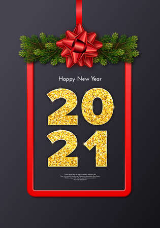 Holiday gift card Happy New Year with fir tree branches garland, red frame and bow. Golden numbers 2021 on grey background. Celebration decor. Vector template illustration 일러스트