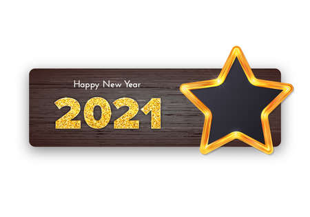 Golden numbers 2021 on wood background. Holiday gift card Happy New Year with shiny star frame. Celebration decor. Vector template illustration 일러스트