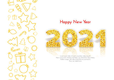 Golden numbers 2021 with reflection and shadow on white background. Holiday gift card Happy New Year with traditional icons. Celebration decor. Vector template illustration