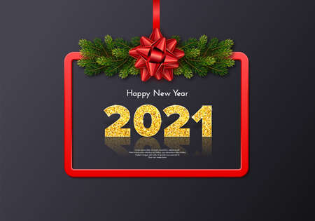 Golden numbers 2021 with reflection and shadow on grey background. Holiday gift card Happy New Year with fir tree branches garland, red frame and bow. Celebration decor. Vector template illustration