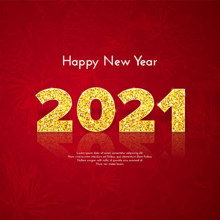 Golden numbers 2021 with reflection and shadow. Holiday gift card Happy New Year with pine branches background. Celebration decor. Vector template illustration 일러스트
