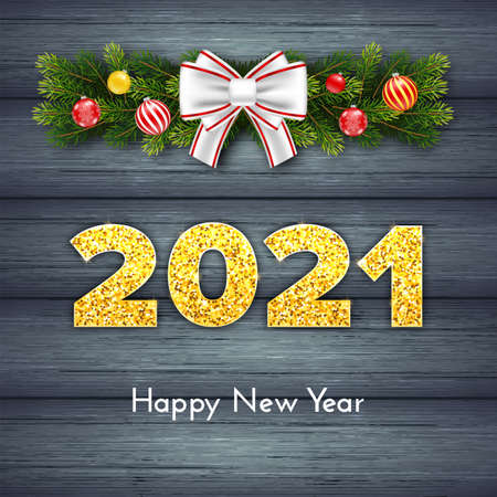 Golden numbers 2021 with shadow on gray wood background. Holiday gift card Happy New Year with fir tree branches garland, christmas balls and white bow. Celebration decor. Vector template illustration