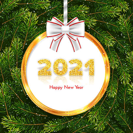 Golden numbers 2021 with reflection and shadow on fir tree branches wreath background. Holiday gift card Happy New Year with gold frame and white bow. Celebration decor. Vector template illustration