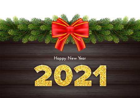 Golden shiny numbers 2021 on wood background. Holiday gift card Happy New Year with fir tree branches garland and red bow. Celebration decor. Vector template illustration