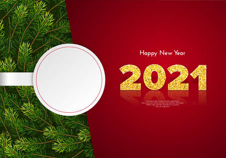 Holiday gift card Happy New Year with fir tree branches and white round sticker. Golden numbers 2021 with reflection and shadow. Celebration decor. Vector template illustration 일러스트