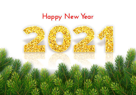Golden numbers 2021 with reflection and shadow on white background. Holiday gift card Happy New Year with fir tree branches. Celebration decor. Vector template illustration