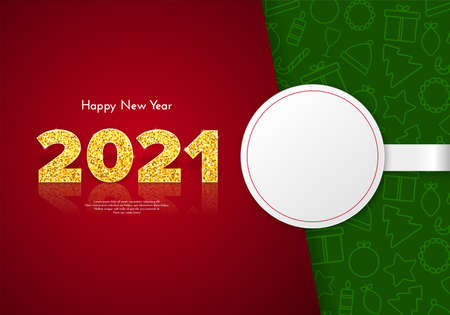 Holiday gift card Happy New Year with white round sticker and traditional Christmas icons patterns on background. Golden numbers 2021 with reflection and shadow. Celebration decor. Vector template illustration.