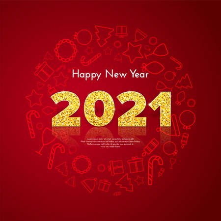 Golden numbers 2021 with reflection and shadow on red background. Holiday gift card Happy New Year with traditional icons wreath. Celebration decor. Vector template illustration