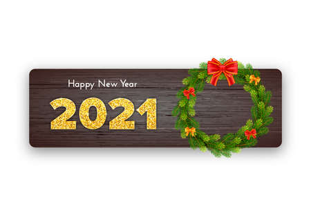 Golden numbers 2021. Holiday gift card Happy New Year with Christmas wreath and bows on wood background. Celebration decor. Vector template illustration 矢量图像