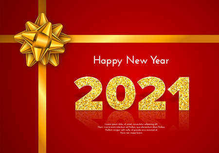 Golden numbers 2021 with reflection and shadow on red background. Holiday gift card Happy New Year with gold bow. Celebration decor. Vector template illustration
